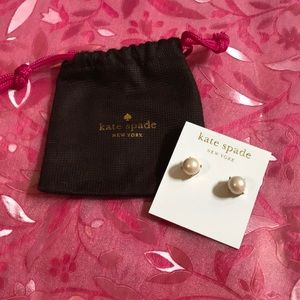 Kate Spade Pearl Gold Setting Earrings NWT